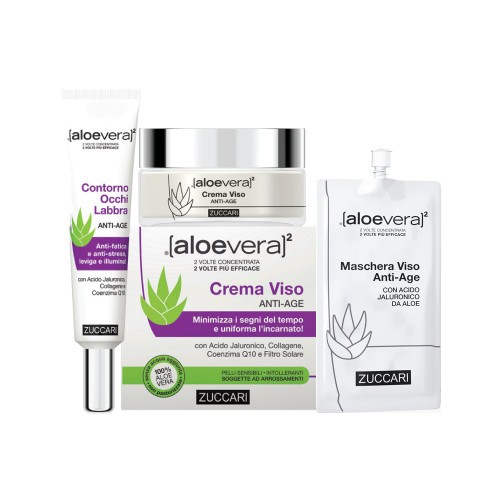 ALOEVERA2 BEAUTY SELECTION ANTIAGE 1 CREMA VISO 50 ML + 1 CONTORNO OCCHI LABBRA 18 ML + 1 MASCHERA VISO 20 ML - Farmastar.it