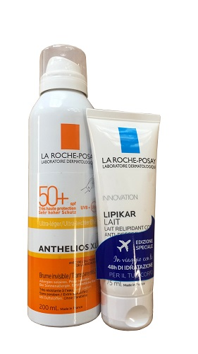 LA ROCHE POSAY SOLE ANTHELIOS SPRAY INVISIBILE SPF50+ 200  ML + LIPIKAR LATTE 75 ML GRATIS - Farmastar.it