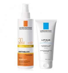 LA ROCHE POSAY SOLE ANTHELIOS  LATTE SPRAY 200 ML SPF30 + LIPIKAR LATTE 75 ML GRATIS - Farmastar.it