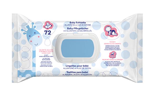 TuaFarmaOnLine Baby Salviette Con Profumo Allantoina e Olio di Cotone 72 Pezzi - La tua farmacia online