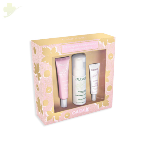 CAUDALIE COFANETTO NATALE VINOSOURCE LES INDISPENSABLES HYDRATATION CREMA 40ML+ SIERO 10ML+ MOUSSE 50ML - Farmastar.it