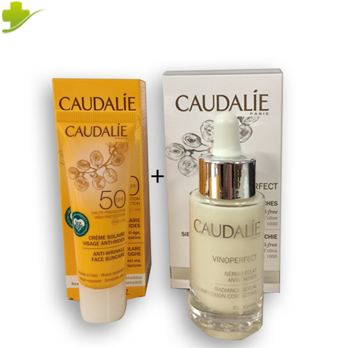 CAUDALIE COFANETTO  SIERO VINOPERFECT 30ML + CREMA SOLARE VISO SPF 50 ANTI AGE 25ML PROMO - Farmastar.it