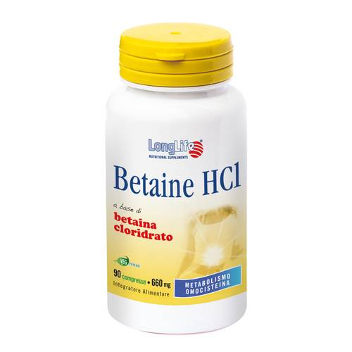 LONGLIFE BETAINE HCL 90CPR - Zfarmacia