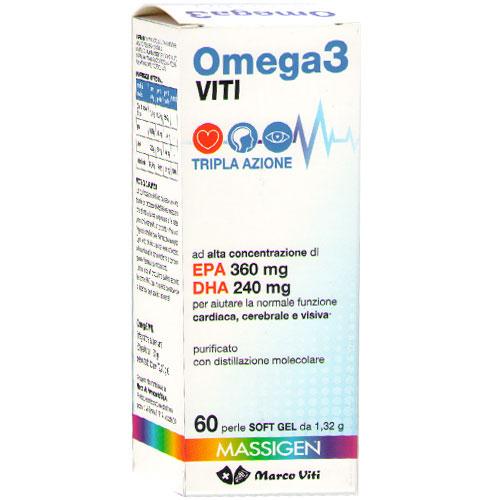 Marco Viti Omega 3 Cardio Tripla Azione Con EPA e DHA Integratore Alimentare 60 Perle - Farmacia 33
