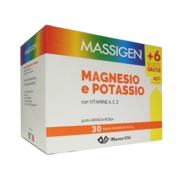 MASSIGEN MAGNESIO E POTASSIO IN BUSTINA CON ASTUCCIO 24 + 6 bust - Zfarmacia