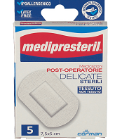 MEDICAZIONE MEDIPRESTERIL POST OPERATORIA DELICATA STERILE 7,5X5 5 PEZZI - Farmamille