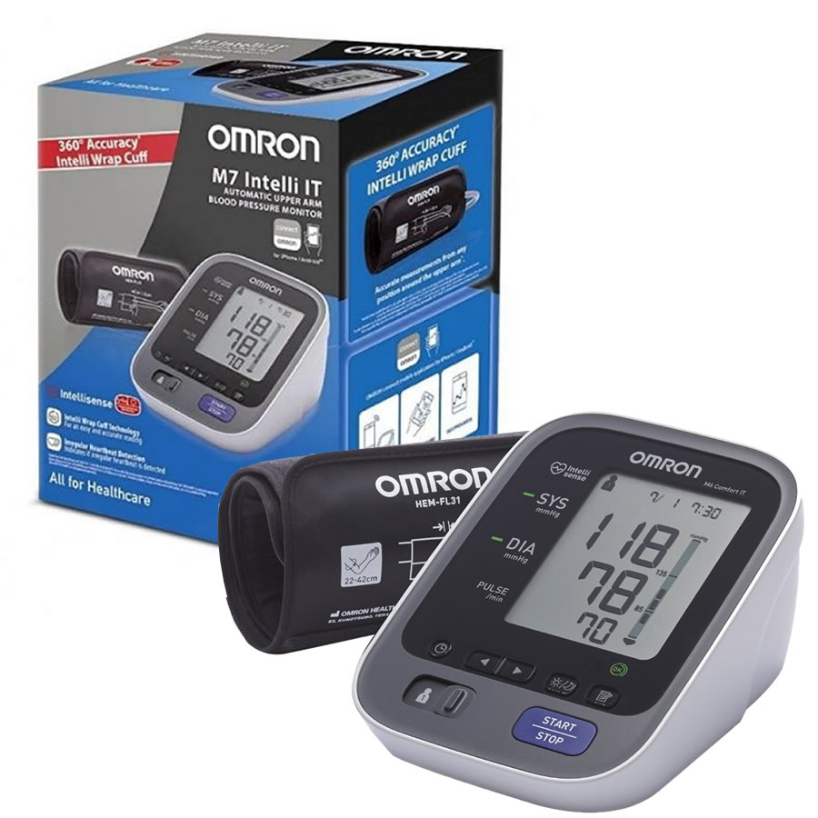 Omron M7 Intelli IT Comfort Bluetooth Misuratore di Pressione - Zfarmacia