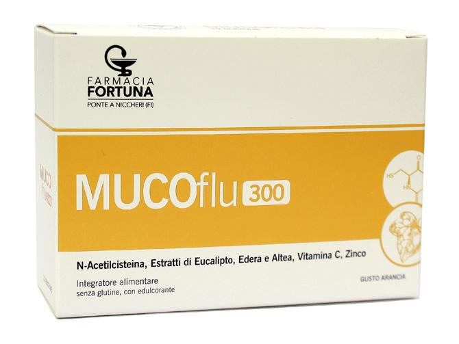 TuaFarmaonLine MUCOflu 300 Integratore Vie Respiratorie Gusto Arancia 12 Bustine - La tua farmacia online