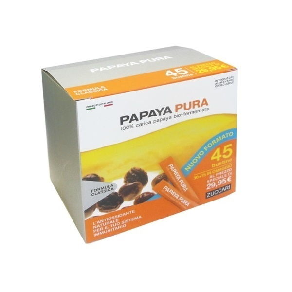 Zuccari Papaya Pura Bio-Fermentata Antiossidante 30 + 15 Stick Da 3 gr - La tua farmacia online