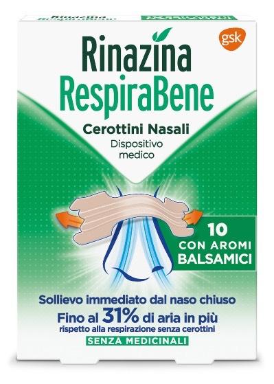 Rinazina Respirabene Cerotti Nasali con Aromi Balsamici 10 Pezzi - Farmalilla