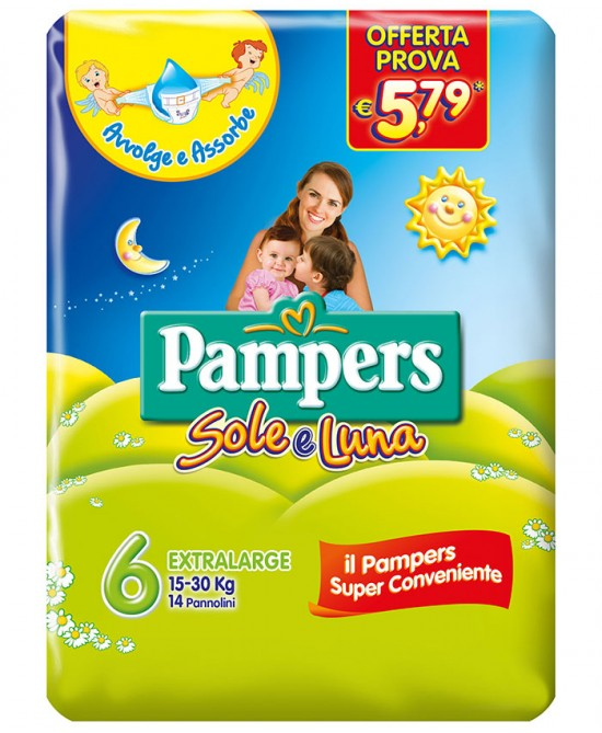 Pampers Sole&Luna Extralarge - Taglia 6 (15-30kg) 14 Pezzi - FARMAPRIME