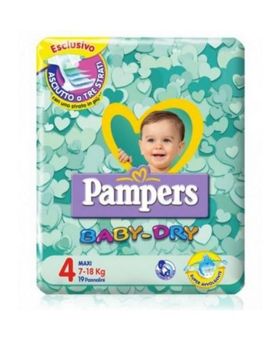 Pampers Baby Dry Downcount No Flash Maxi - Taglia 4 (7-18kg) 19 Pannolini - FARMAPRIME