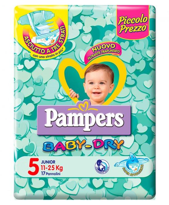 Pampers Baby Dry Downcount No Flash Junior Misura 5 (11-25kg) 17 Pannolini - FARMAPRIME
