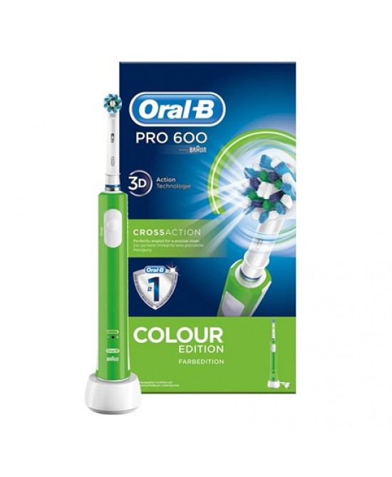 Oral-B Pro 600 Crossaction Colour Edition Spazzolino Elettrico Ricaricabile Verde - La tua farmacia online
