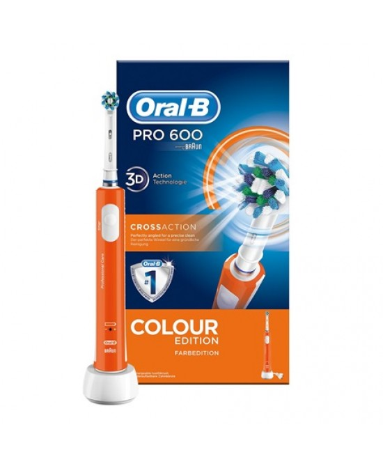 Oral-B Pro 600 Cross Action Colour Edition Spazzolino Elettrico Ricaricabile Arancione - La tua farmacia online
