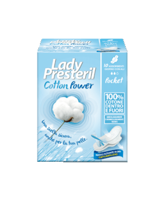 Lady Presteril Cotton Power Giorno Con Ali Pocket 10 Pezzi - Farmacento