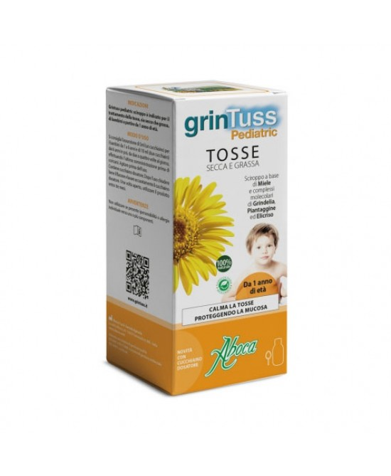 ABOCA GRINTUSS PEDIATRIC TOSSE SECCA E GRASSA DISPOSITIVO MEDICO SCIROPPO 180 G - Farmastar.it