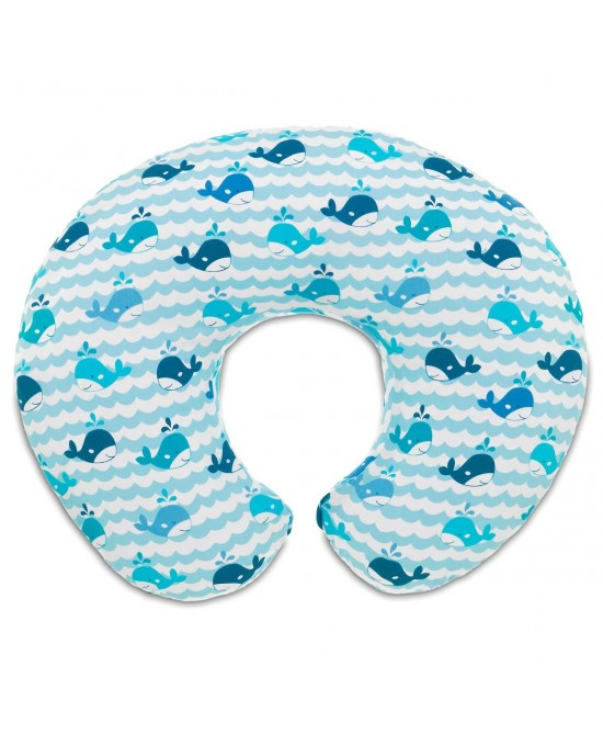 Chicco Cuscino Allattamento Boppy Foderato In Cotone Colore Blue Whales - farma-store.it