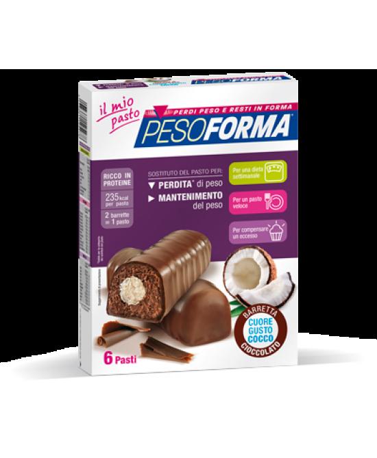 Pesoforma Barrette Al Cioccolato Cuore Gusto Cocco 6 Pasti 12 Pezzi - La tua farmacia online