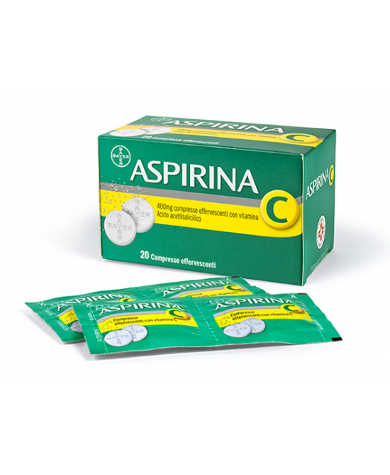 Aspirina C 400mg + 200mg Compresse Effervescenti Con Vitamina C 20 Compresse - Farmacia 33