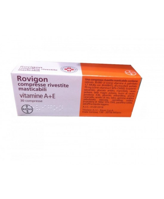 Rovigon 30.000 UI + 70mg 30 Compresse Rivestite Masticabili - Farmastar.it