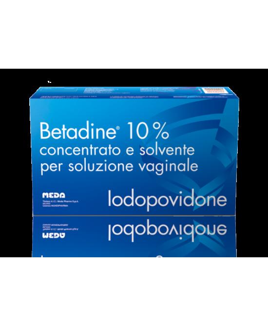 Meda Betadine 10% Concentrato E Solvente Per Soluzione Vaginale 5 Flaconi + 5 Fialette + 5 Cannule - Farmacia 33