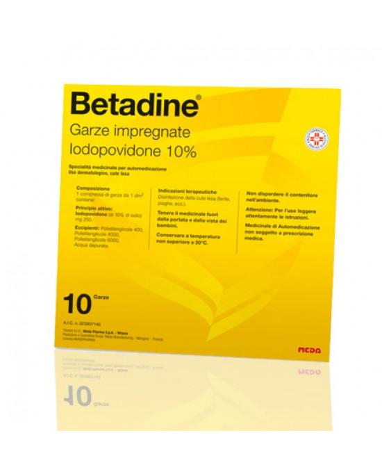 Meda Betadine 10 Garze Impregnate 10x10cm - Farmawing