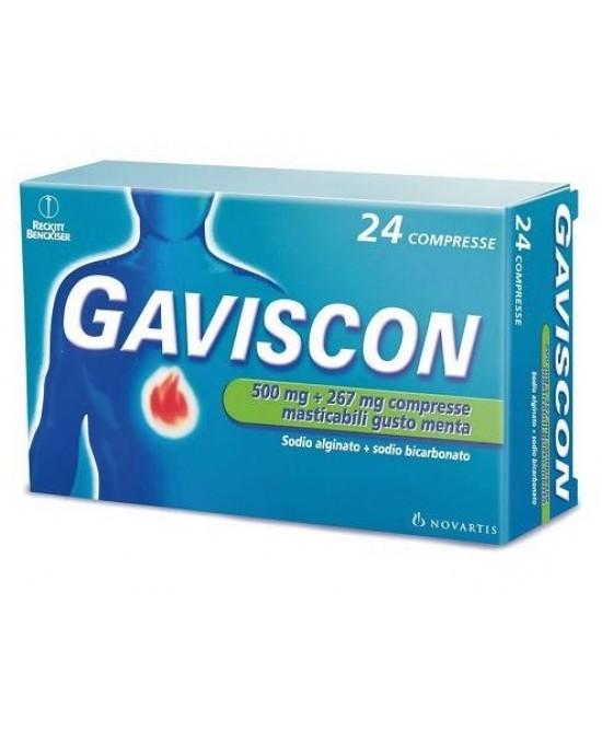 Rb Gaviscon 500mg+267mg Trattamento Sintomatico Del Bruciore Di Stomaco Occasionale Gusto Menta 24 Compresse Masticabili - Farmacia 33