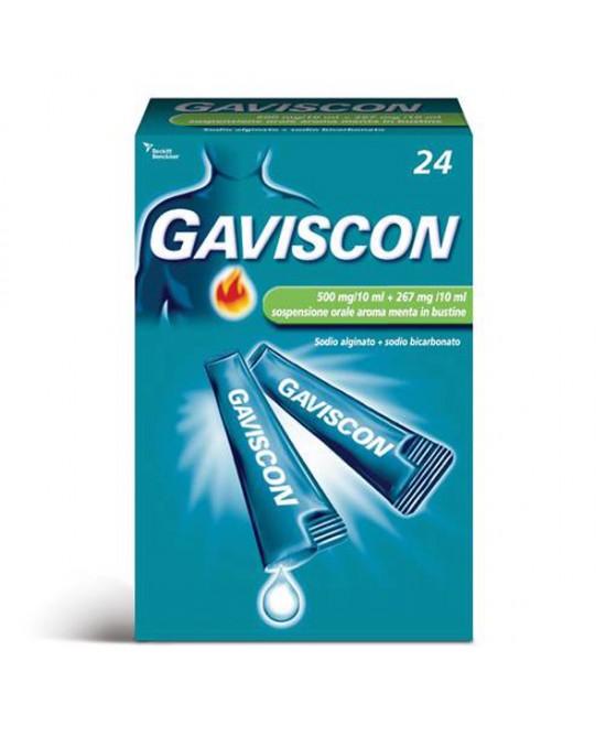 Rb Gaviscon 500+267mg/10ml Sospensione Orale Trattamento Sintomatico Del Bruciore Di Stomaco Occasionale Aroma Menta 24 Bustine - Farmaciaempatica.it