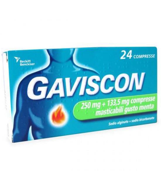 Gaviscon 24 Compresse Masticabili Menta 250+133,5MG - Farmacia 33