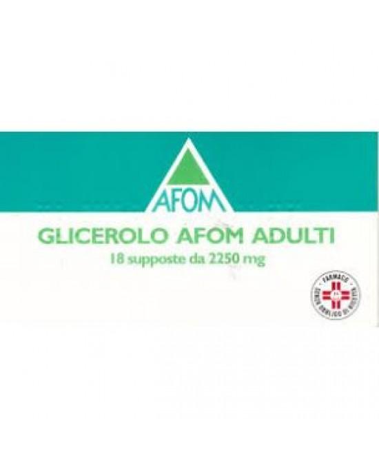 Afom Glicerolo Adulti Lassativo 2250mg 18 Supposte - Farmacia 33