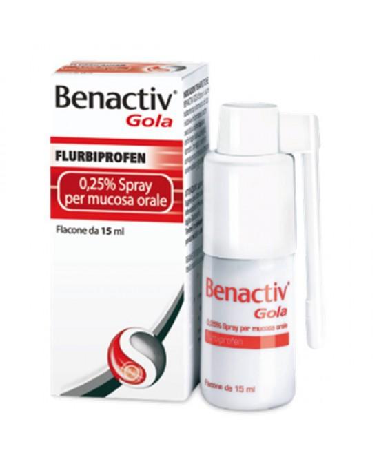 Benactiv Gola Fulbiprofene 0,25% Spray per Mucosa Orale 15 ml - Farmalilla