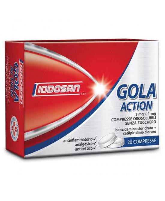 Iodosan Gola Action 3mg+1mg Trattamento Antinfiammatorio Della Gola 20 Compresse Orosolubili Senza Zucchero - Farmacia 33
