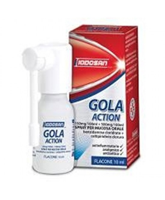 Iodosan Gola Action 0,15%+0,5% Spray Trattamento Antinfiammatorio Della Gola Flacone 10ml - Farmawing