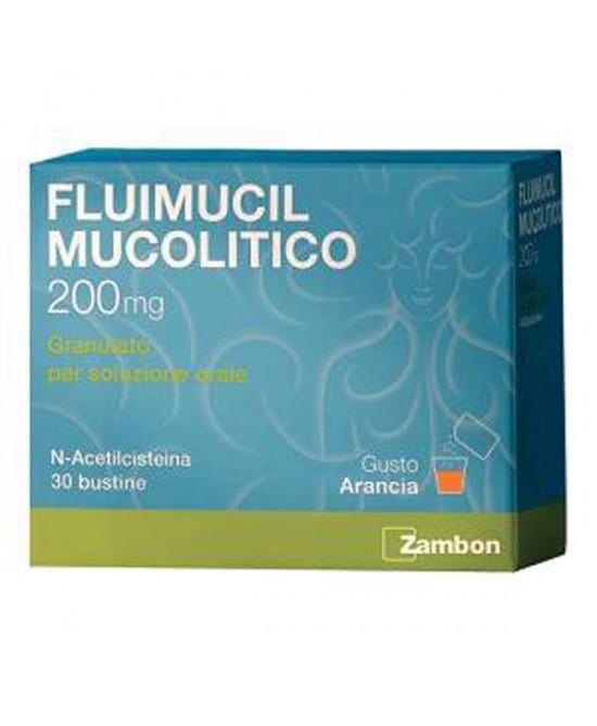 Zambon Fluimucil Mucolitico 200mg Granulato Soluzione Orale Trattamento Affezioni Respiratorie 30 Bustine - La tua farmacia online