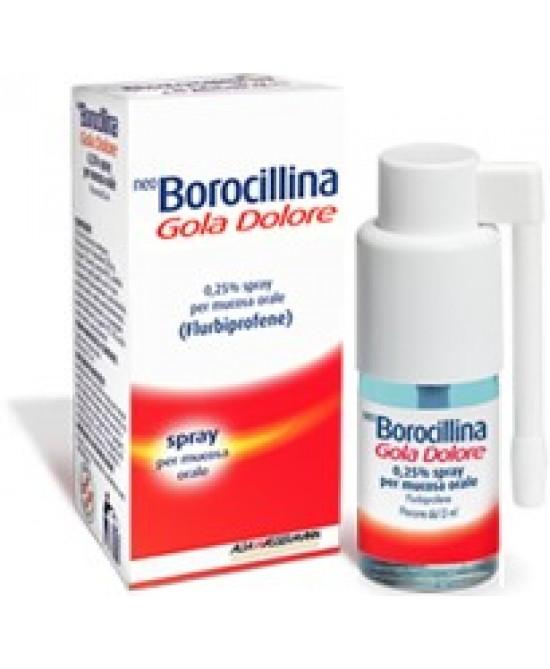 NeoBorocillina Gola Dolore Flurbiprofene 0.25g Spray 15ml - Farmawing