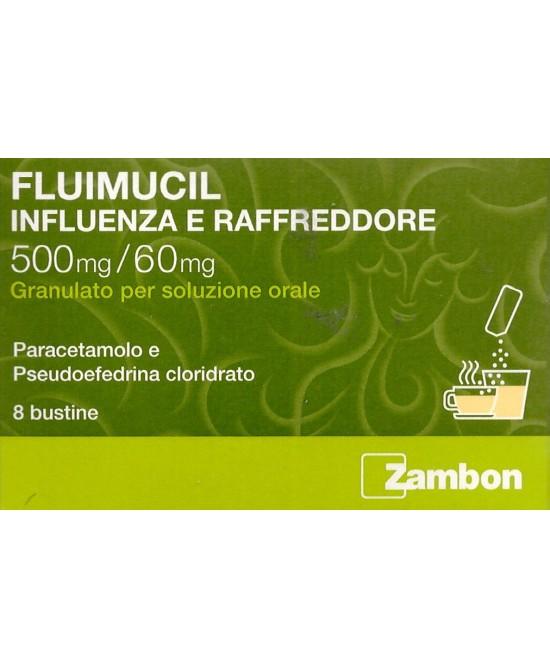 Zambon Fluimucil Influenza E Raffreddore 500mg/60mg 8 Bustine - La tua farmacia online