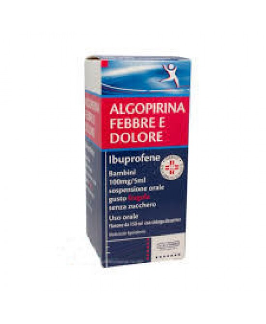 Algopirina Febbre Dolore 100 mg/5 ml Sospensione Orale Gusto Fragola Senza Zucchero 150ml - FARMAEMPORIO