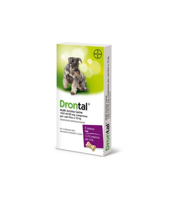 Drontal Multi Aroma Carne Compresse Per Parassiti Intestinali Per Cani Fino a 10Kg 6 Compresse - Farmacia 33