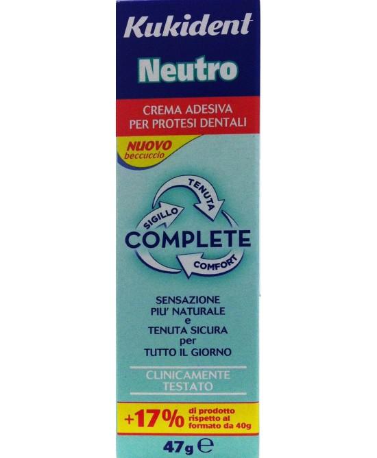Kukident Neutro Complete Crema Adesiva Protesi Dentali 40ml - Antica Farmacia Del Lago