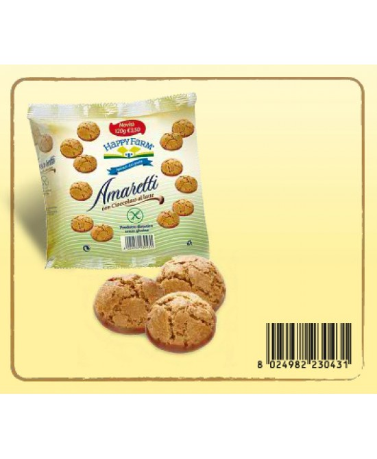 Happy Farm Biscotti Amaretto Con Cioccolato Al Latte Senza Glutine 120g - Farmacia 33