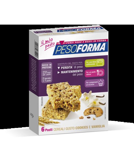 Pesoforma Barrette Ai Cereali Gusto Cookies E Vaniglia 6 Pasti 12 Pezzi - Farmacento