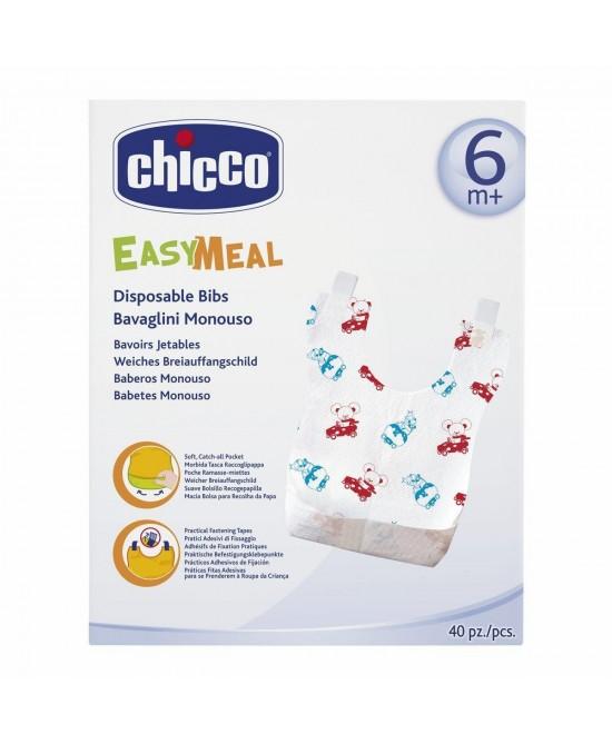 Chicco Easy Meal Bavaglini Monouso +6Mesi 40 Pezzi - Farmacento