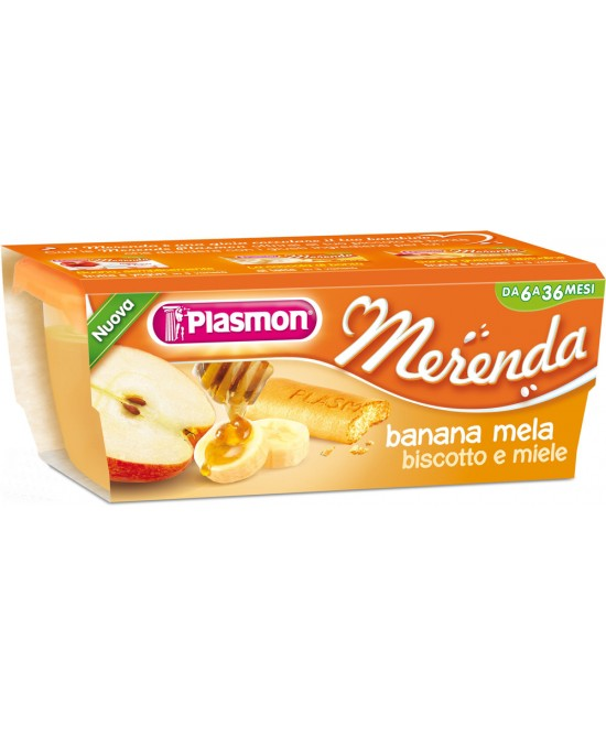 Plasmon Merenda Banana Mela Biscotto Miele 2x120g - farma-store.it