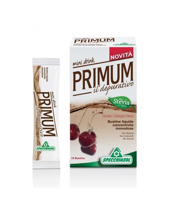 Specchiasol Primum Depurativo Mini Drink Gusto Ciliegia Nera 15 Bustine Liquide Monodose - FARMAEMPORIO