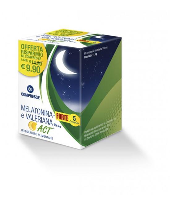 Melatonina ACT  + Forte 5 Complex E Valeriana Integratore Alimentare 60 Compresse - La tua farmacia online