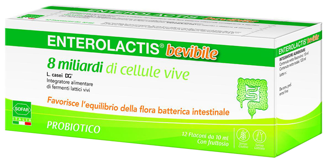 SOFAR ENTEROLACTIS INTEGRATORE ALIMENTARE FERMENTI LATTICI 12 FLACONCINI 10 ML - Farmastar.it