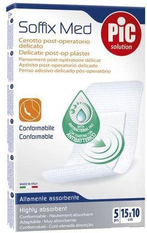 CEROTTO PIC SOFFIX MED IN TNT CON TAMPONE CENTRALE ASSORBENTE STERILE MONOUSO 10X15 CM ANTIBATTERICO 5 PEZZI - Farmacia 33