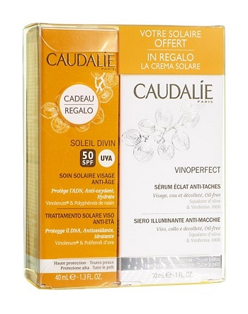 CAUDALIE COFFRET COFANETTO SERUM VINOPERFECT ANTIMACCHIE 30 ML + SOLAIRE SPF 50 TUBETTO DA 40 ML - Farmastar.it