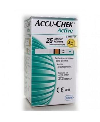 STRISCE MISURAZIONE GLICEMIA ACCU-CHEK ACTIVE STRIPS 25 PEZZI INF RETAIL - Farmacia 33